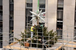 Adorned with 25,000 crystals here is the Swarovski star for the 2014 Rockefeller Center Christmas tree