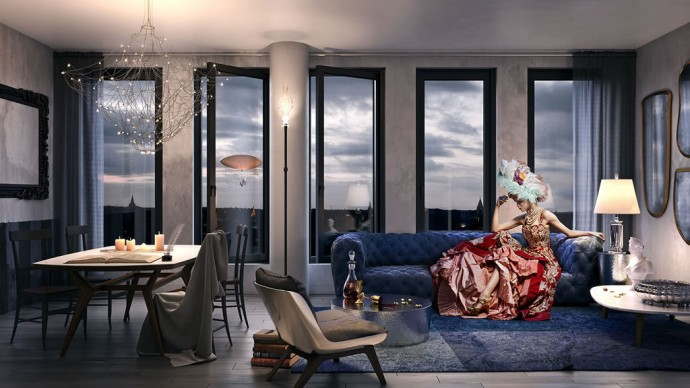 Steampunk themed luxury condos at hudson square for 10 by 15 living room