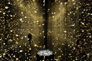 65,000 watch parts suspending from the ceiling create an out of this world installation