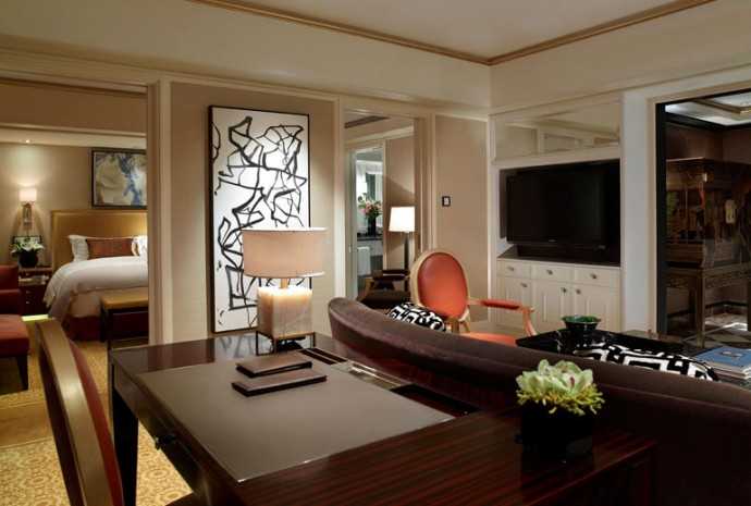 St.Regis Suite Living Room with VIP set up including Flowers and Fruits