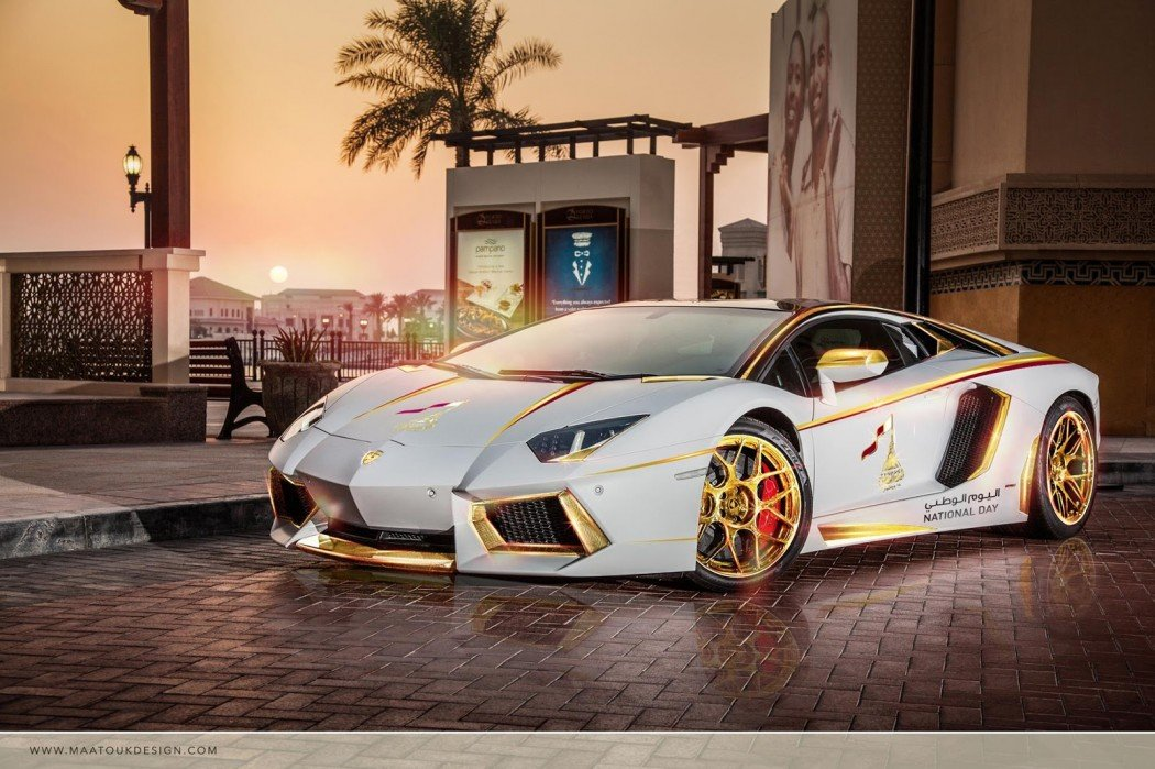 meet the one off gold plated lamborghini aventador roadster qatar national day edition