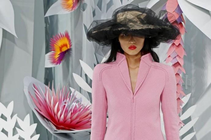 A model presents a creation by German designer <a href=