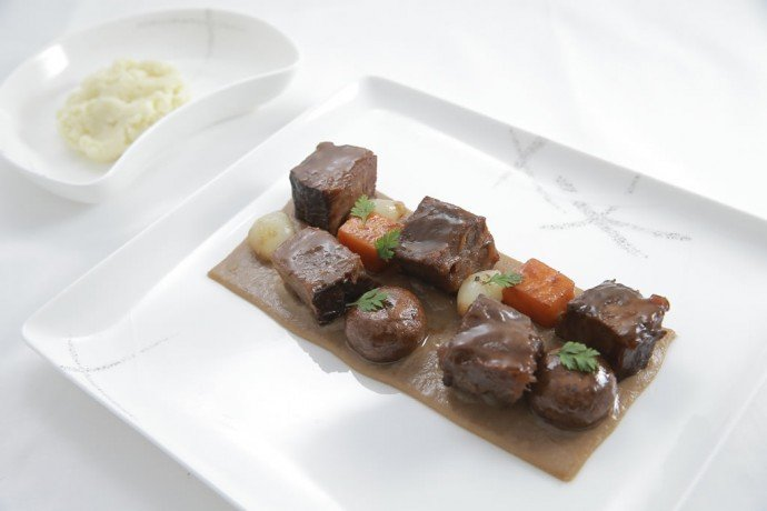 Classic Beef bourguignon using cheek and short rib