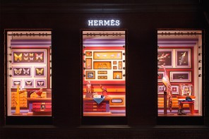 Zim & Zou design Hermes windows with leather insects and birds