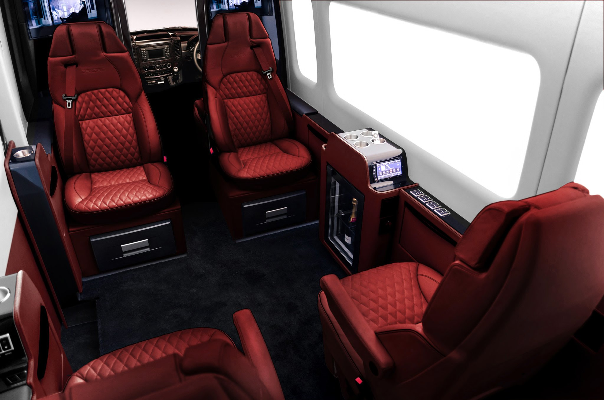 this 300k customized mercedes van 39 s interiors will put a luxury private jet to shame. Black Bedroom Furniture Sets. Home Design Ideas