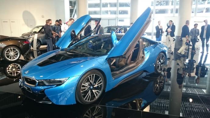 The futuristic, fuel-efficient BMW i8 hybrid sports car