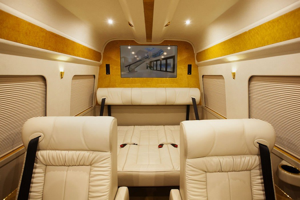 meet grazia  a lavish custom mercedes sprinter van that comes with 24k gold