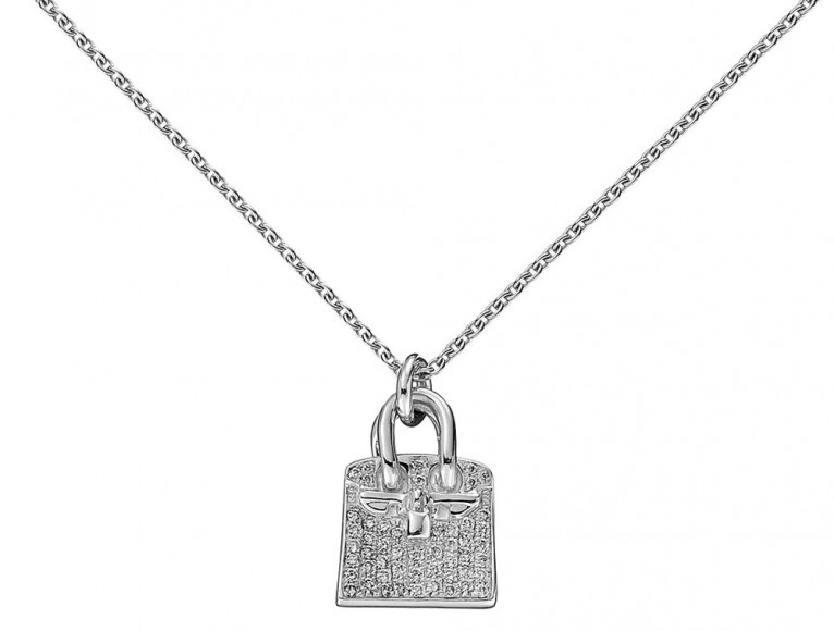 Hermès Birkin Pendant in White Gold and Diamonds