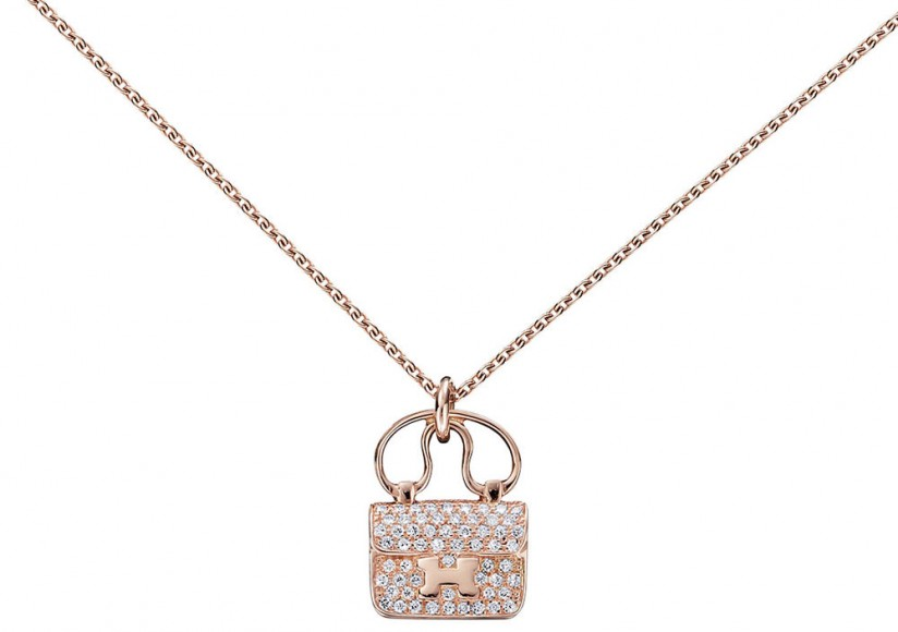 Hermès Constance Pendant in Rose Gold and Diamonds