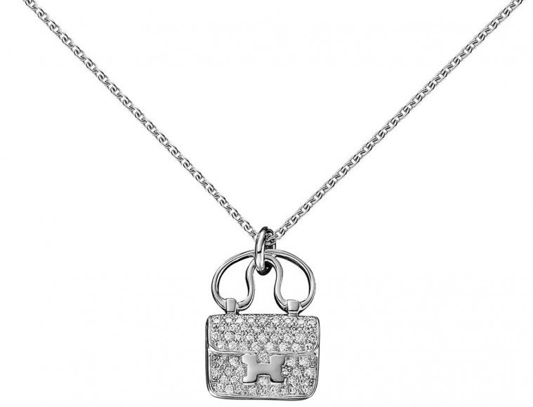 Hermès Constance Pendant in White Gold and Diamonds