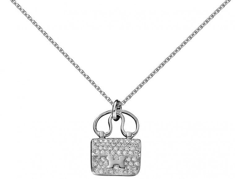 Hermès Constance Pendant in White Gold and Diamonds