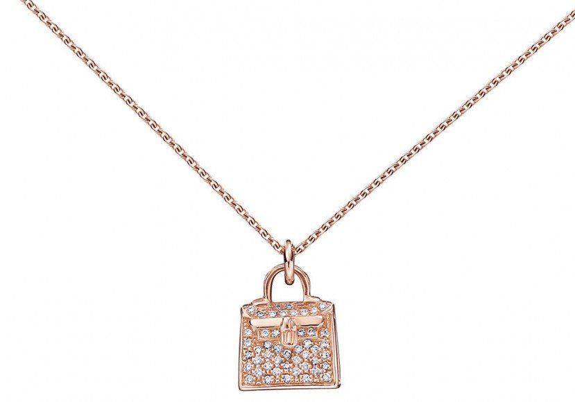 Hermès Kelly Pendant in White Gold and Diamonds