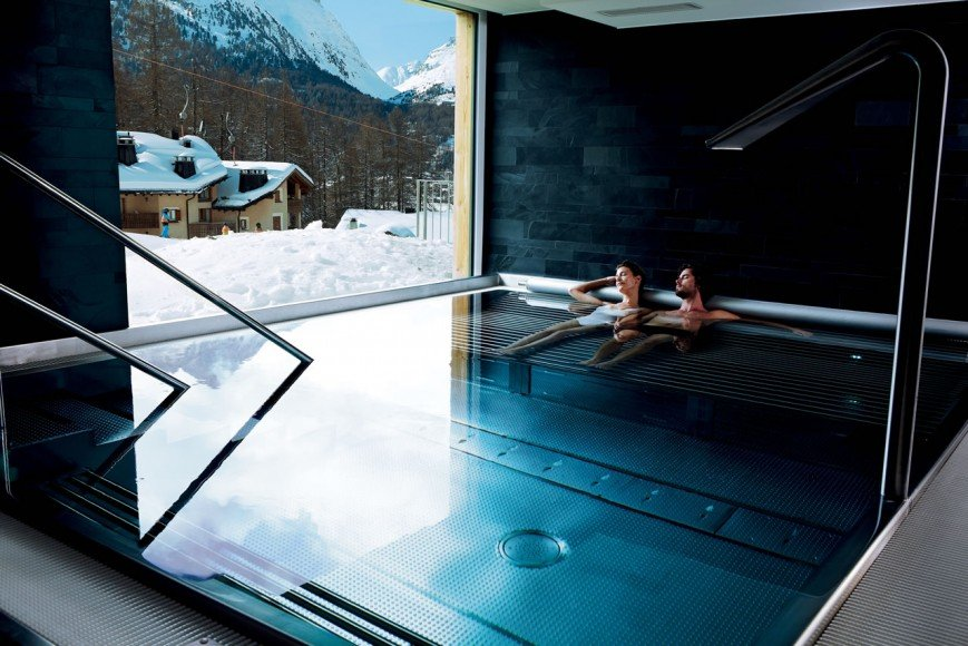 Relaxing in the whirlpool while admiring the view.