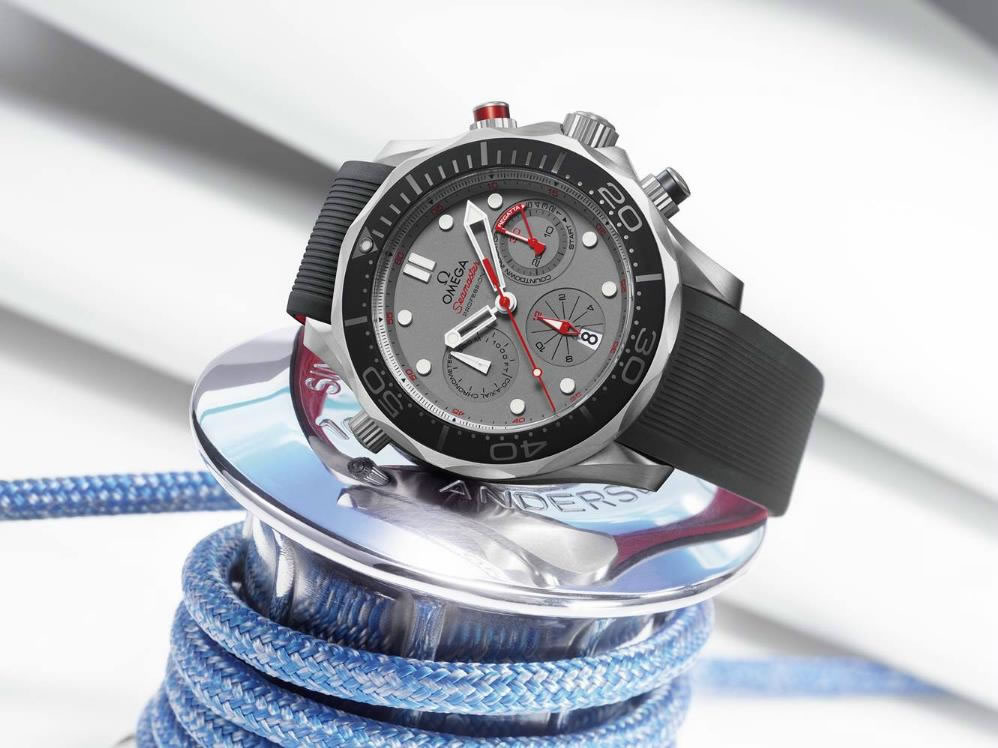 Omega introduces seamaster diver 300m co axial chronograph etnz watch for 2015 america s cup for Omega diver