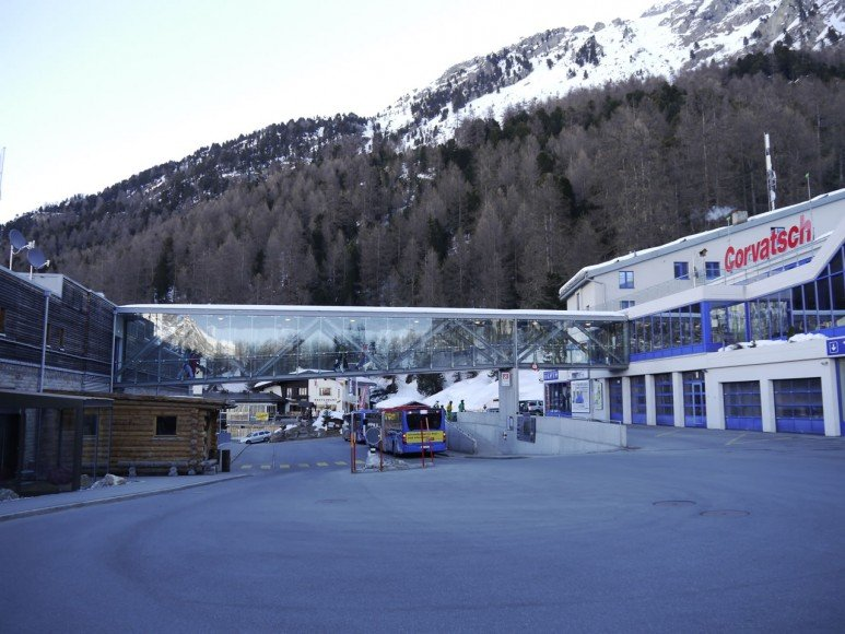 The popular Corvatsch ski station is right outside the hotel.