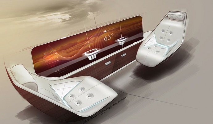 Integrated touchscreen panels for access to in-flight services