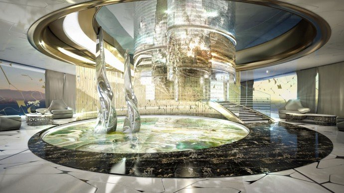 The design rendering of the interior shows glittering fixture hanging over an indoor pond accented by glass sculptures.