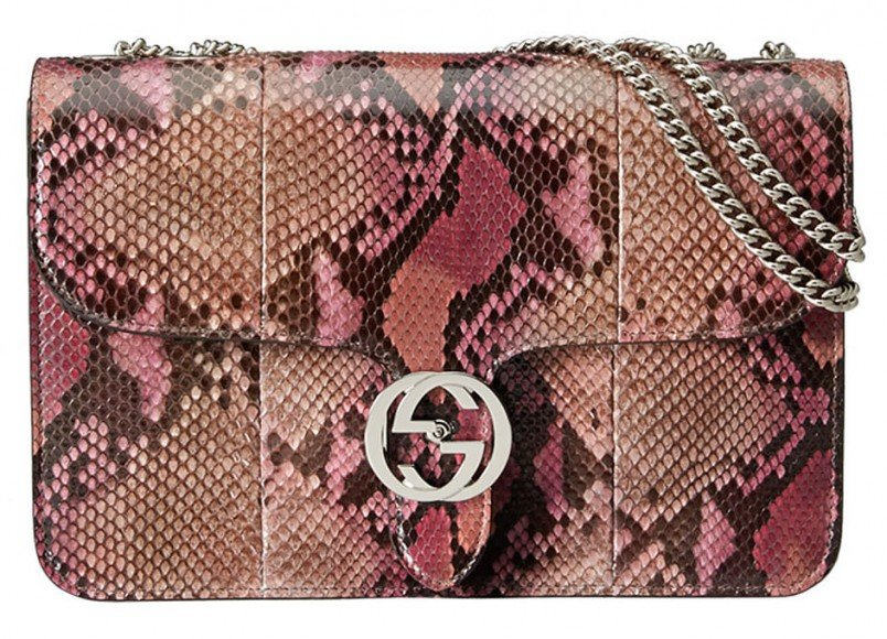 Gucci-Interlocking-Shoulder-Bag-Python