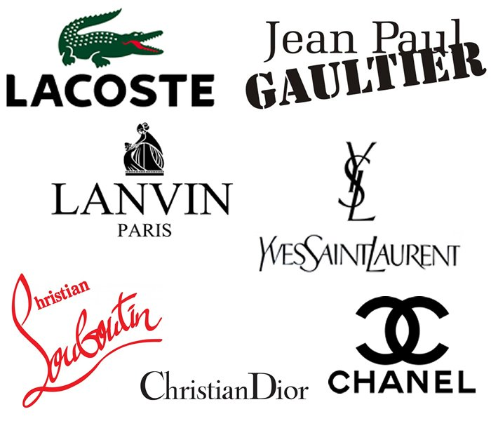 Fashion designer logos collage
