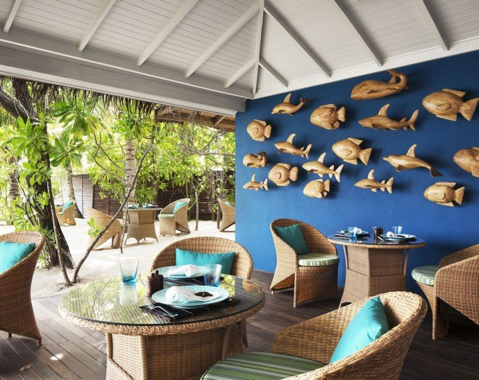 The Poolside bar which offers stunning views of the turquoise lagoon