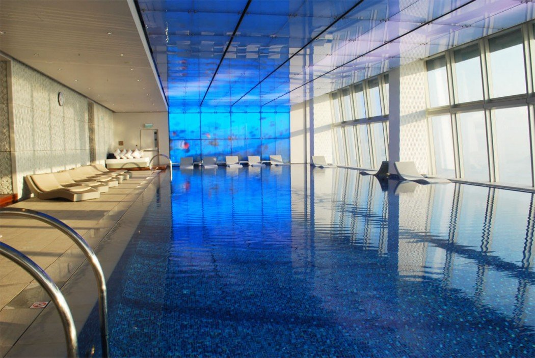Review Ritz Carlton Hong Kong Swimming Pool Blue Oasis On Top Of The World