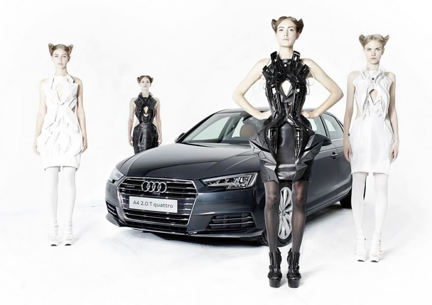 Futuristic D Printed Dresses That Are Made From Audi Car Parts - Audi car parts