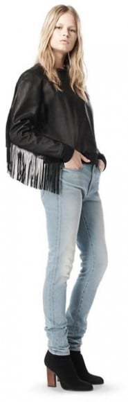 Spring 2009 leather fringe sweatshirt, $1,095.