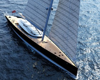 Ferrari and Alberto Franchi 50 meter luxury sailboat superyacht 1