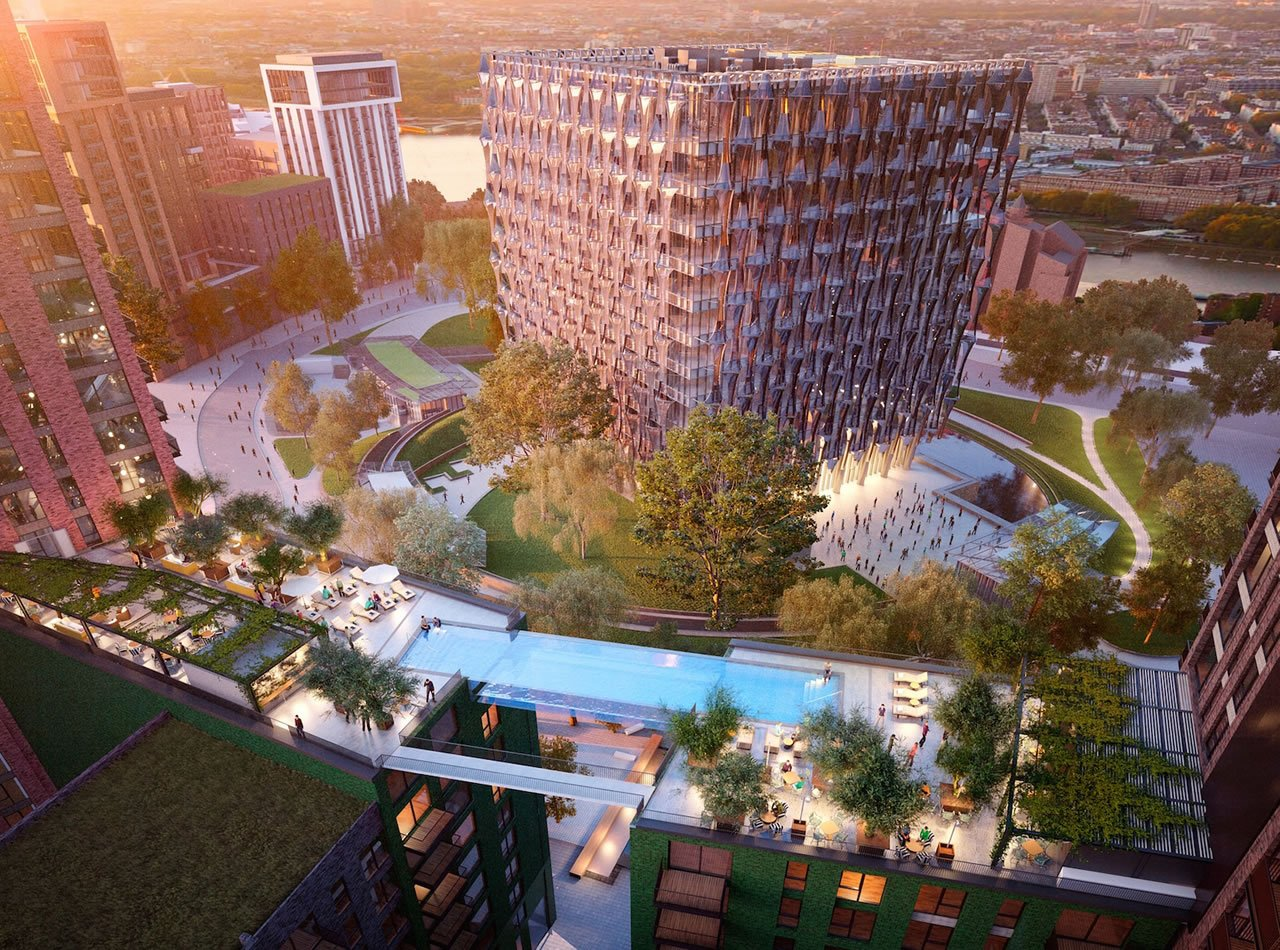 glass sky pool London residential area 2