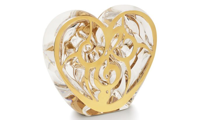 Heart, unique piece, clear crystal and gold enamel