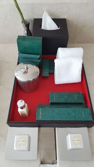 The bathrooms pamper your personal needs. It is equipped with essentials, and a tub with a TV screen in front. The lotions are quite nice, I must add. Subtle and calming.