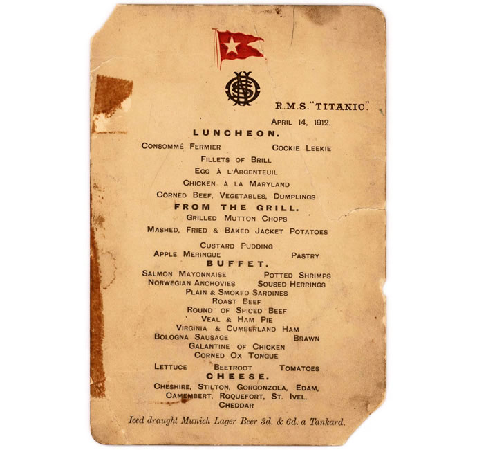First Class Menu From Titanic S Last Luncheon Sold For A