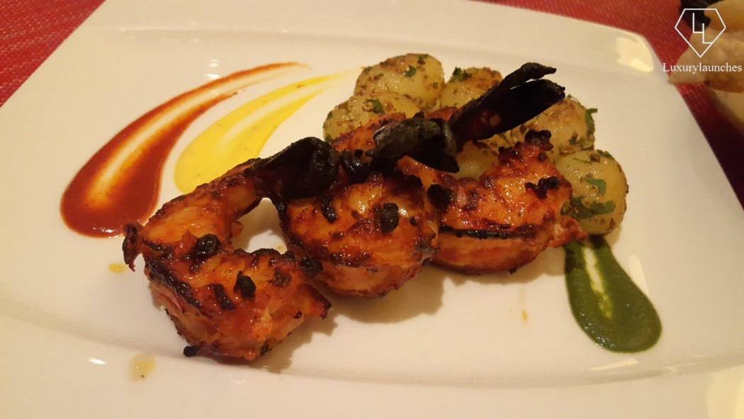 Tiger jumbo prawns - with cilantro and cumin potatoes