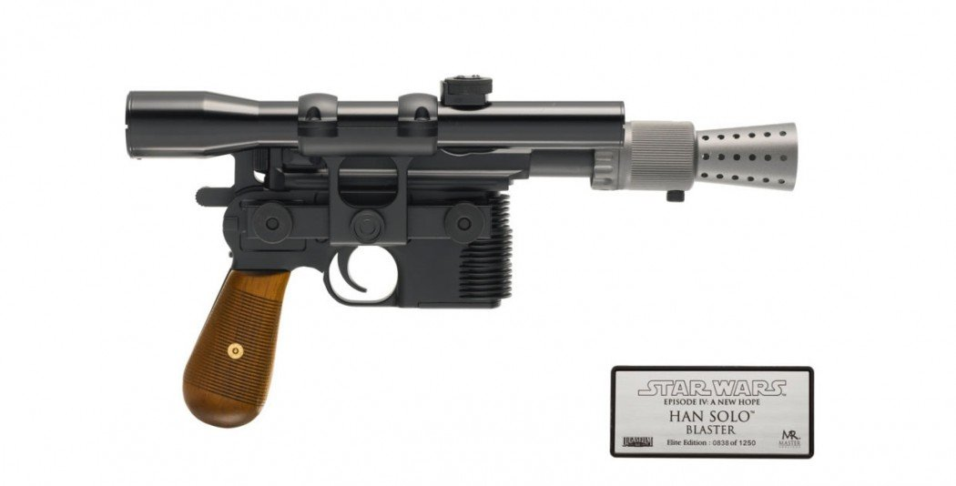 STAR WARS A NEW HOPE ELITE HAN SOLO BLASTER, MASTER REPLICAS, 2002