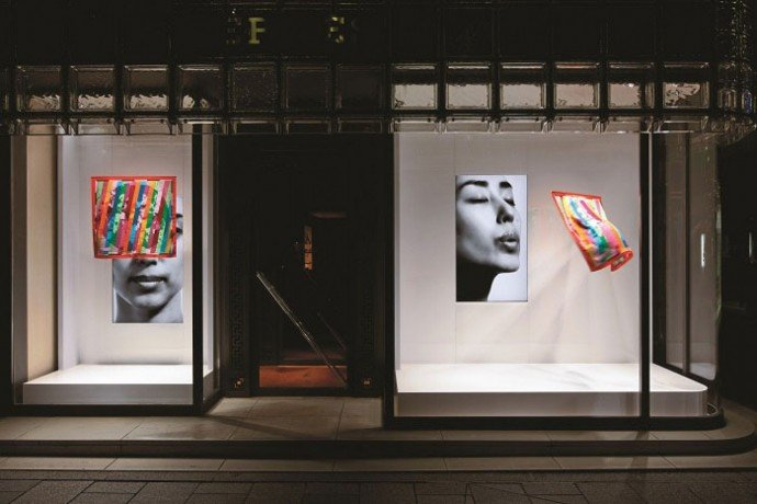 Window at the Hermes flagship in Ginza, Tokyo.