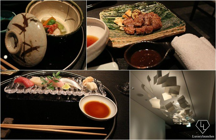 Clockwise from top left- Savory custard, pan-fried pork, entrance, sushi platter at Nadaman