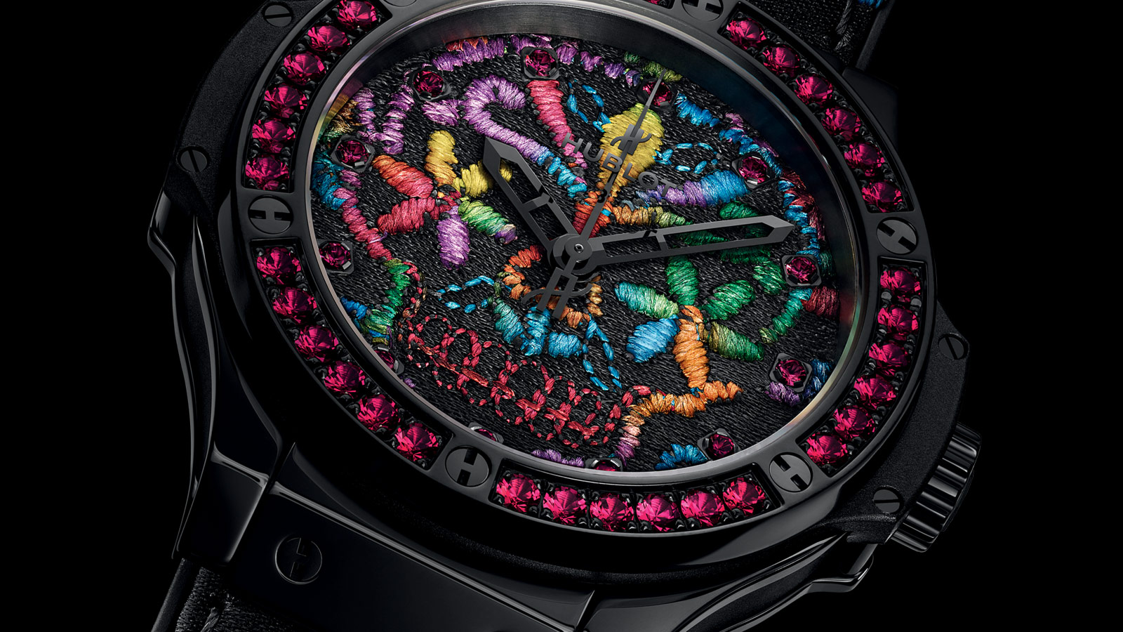 hublot trades in for embroidery with their new big bang broderie sugar skull watch