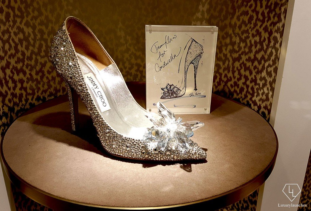 On display at the Jimmy Choo store - This iconic shoe reimagines the iconic glass slipper Cinderella left behind when the clock struck midnight.
