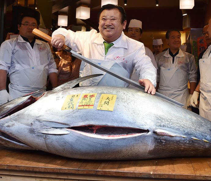 Japanese sushi chef pays a whopping 117 000 for a blue for Tsukiji fish market sushi