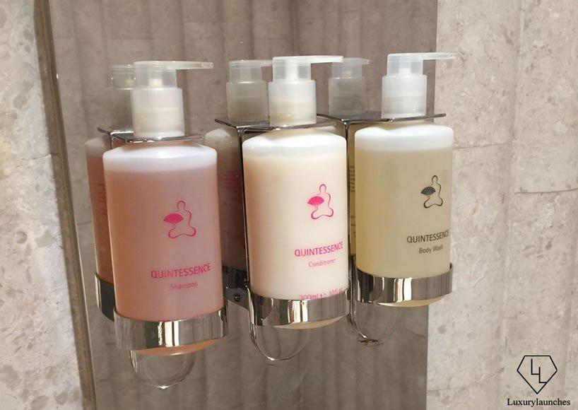 Mandarin Oriental's in-house Quintessence products are crafted by a master blender and are used in the spa's bathroom facilities and some treatments