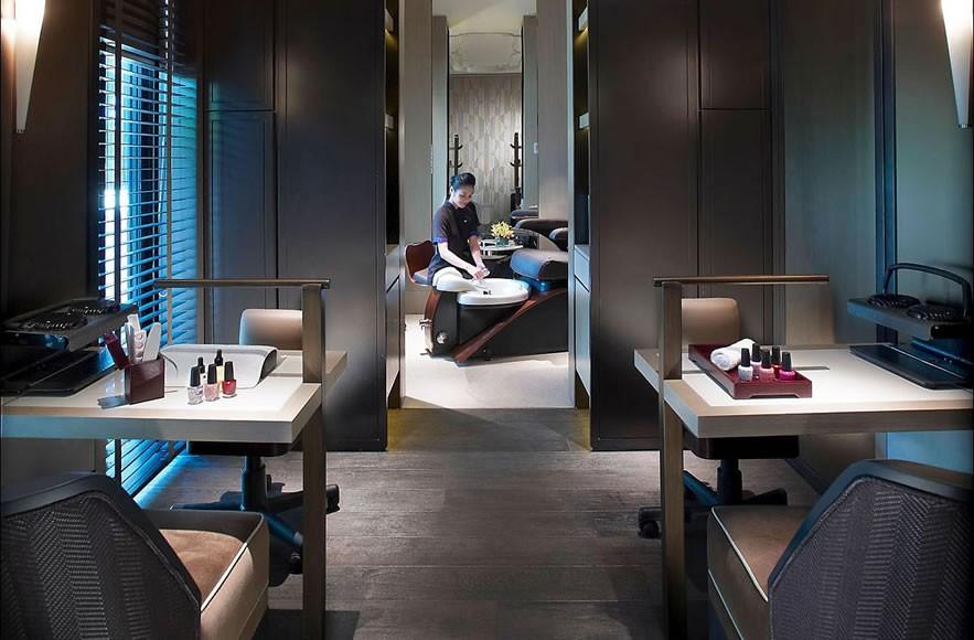 A separate manicure-pedicure area in the spa