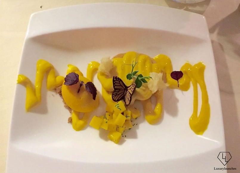 For dessert A mango sorbet, almond crunch and mango basil confit