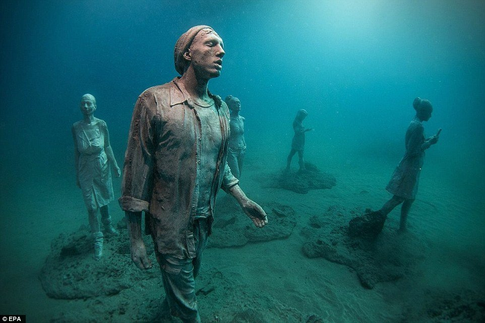 Deep Impact Boats >> Located among the Canary Islands Europe's first underwater museum features refugees, selfies and ...