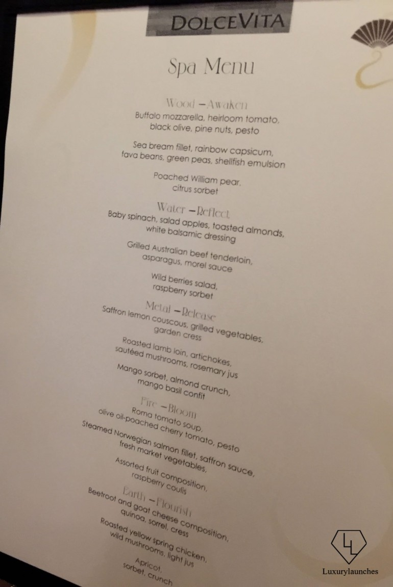 The complete post-spa meal menu prepared by the hotel's Italian restaurant, Dolce Vita