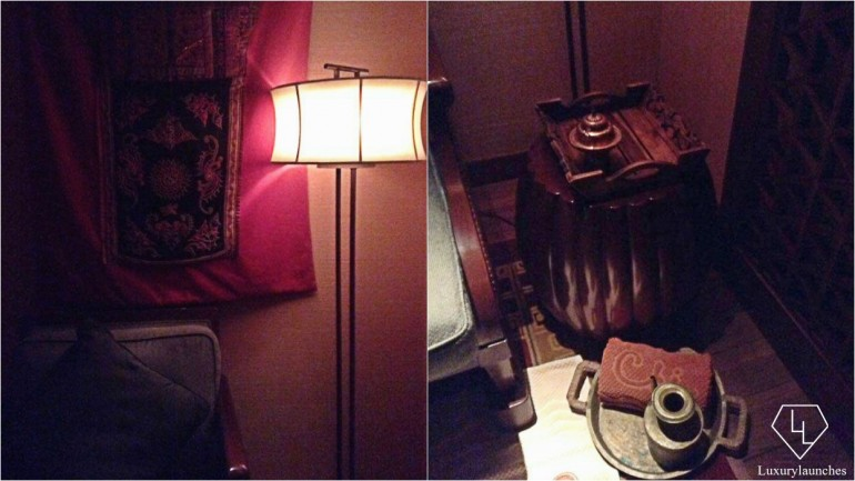 First Impressions – Our first step was to take a seat upon entering what is clearly the moodiest of spa suites
