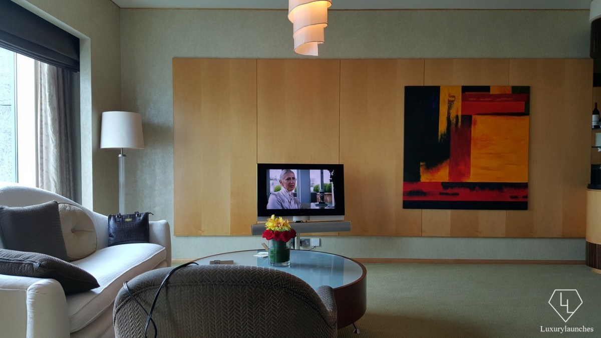 A swiveling TV from bang and Olufsen. You would be tempted to take it home.