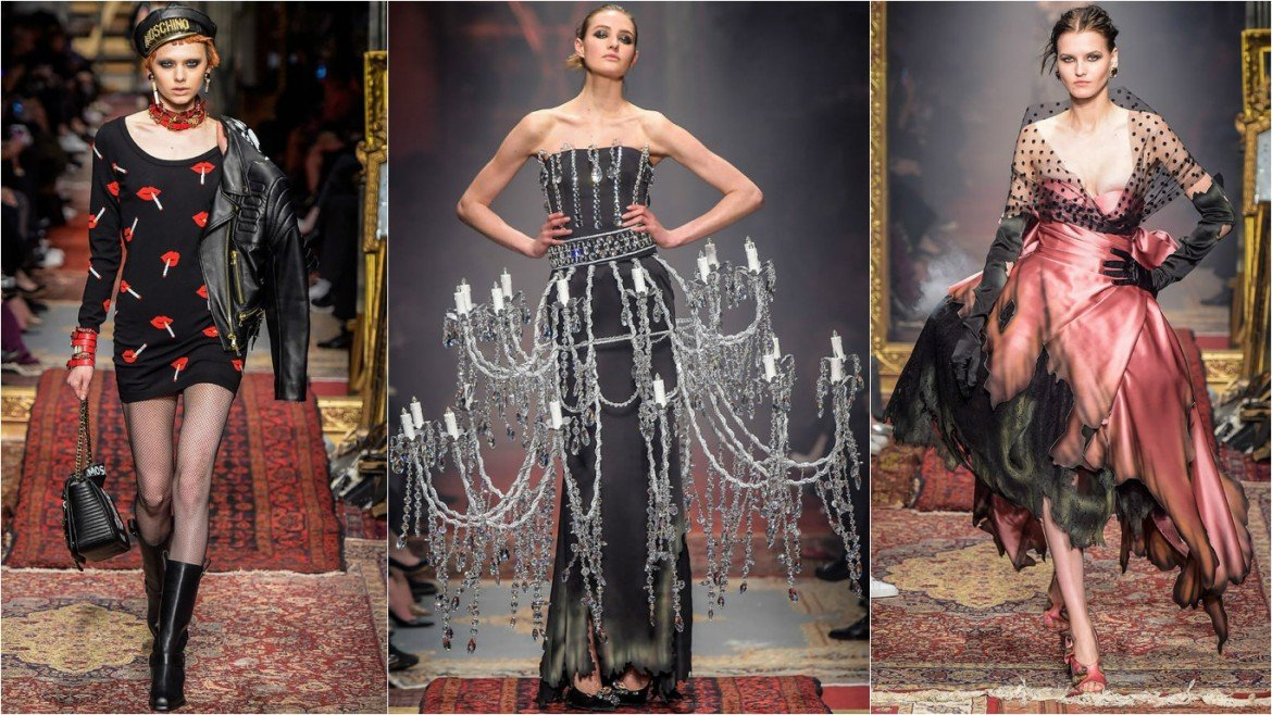 Jeremy Scott Sends Models In Scorched Dresses And Chandeliers Down The Runway At Moschino