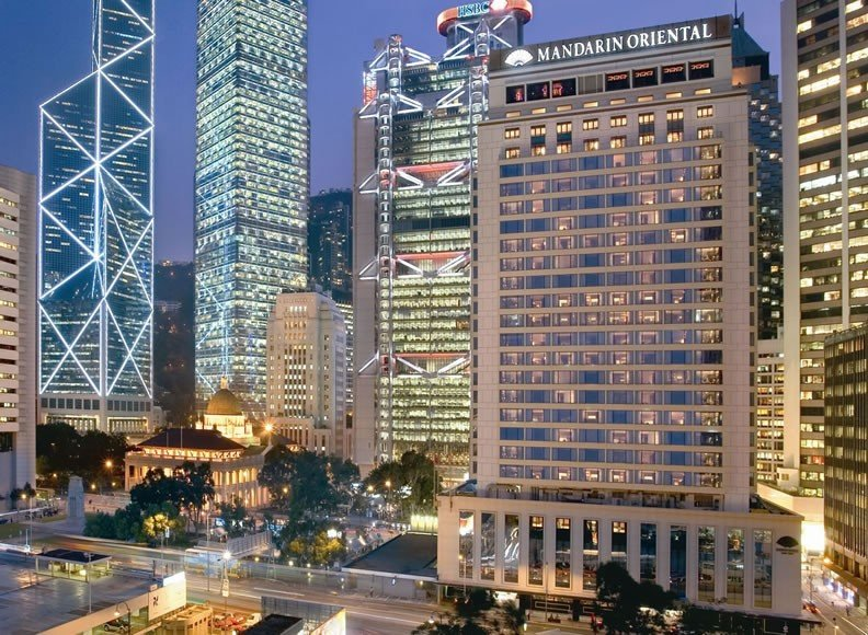 The Mandarin Oriental, Hong Kong's night façade