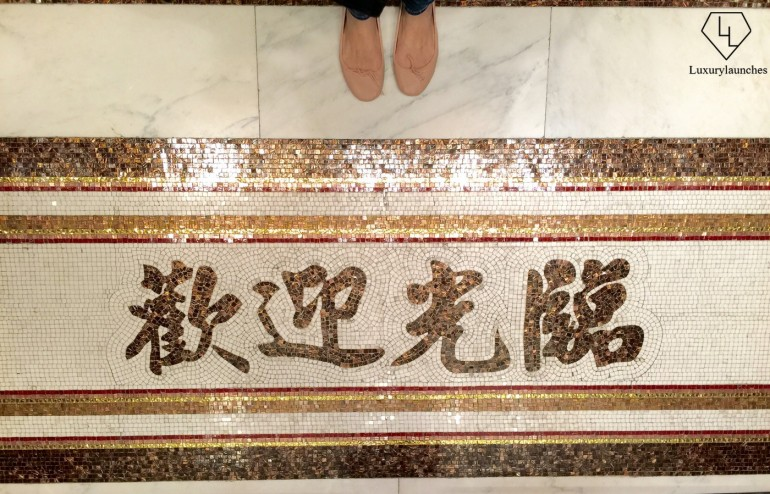 A 'Welcome' in Mandarin tile design at the entrance of the Mandarin Barber was too good a picture to pass up taking