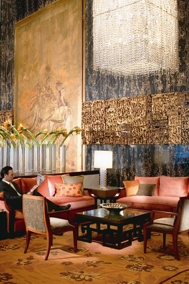 The lavish hotel lobby is a meeting point for guests but it's an important venue for residents too, who can often be seen meeting up with friends there or lolling on the sofas
